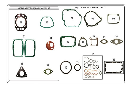 Jogo De Juntas Motor Yanmar Nsb11 Nsb12 Ns11 Tc11 Tc14