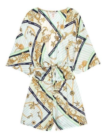 Victorias Secret Romper Kimono De Satín Logo Vs Amyglo