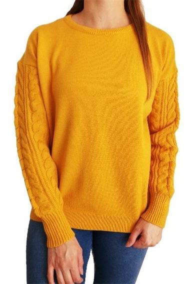 Sweater Mujer Lana Pullover Importado Trenzado Mangas Xxl