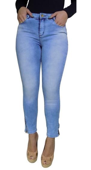 Calça Feminina Marca Azul Claro Cós Alto Lavagem Ziper Barra