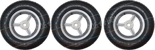 Imagem 1 de 3 de Kit 3 Roda Carrinho Mão Alumínio 8' Rolamento C/pneu+câmara