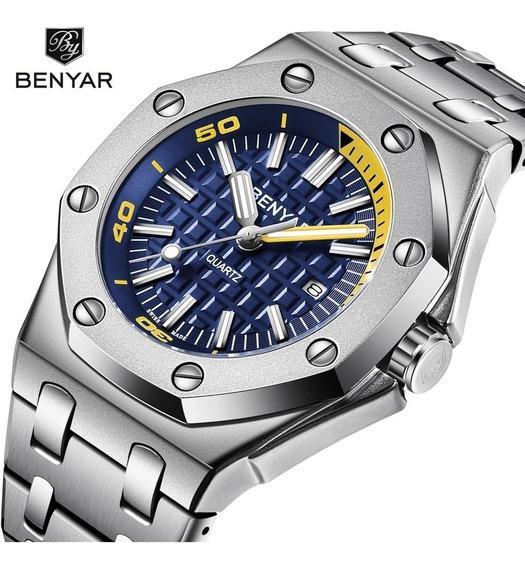 Relógio Masculino Benyar 5123 Original Prata C/ Azul