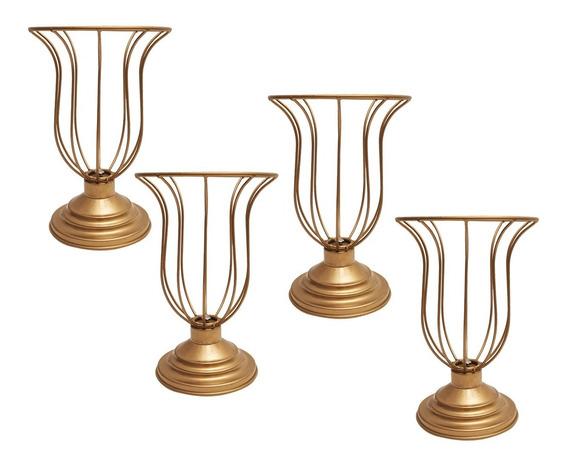Kit 4 Vasos Armação 25cm Dourado Aramado Montar Pedraria