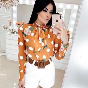 Conjunto Blusa Camisa De Laço Manga Comprida Lançamento