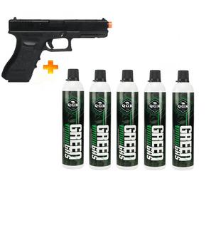 Pistola De Airsoft À Gás Gbb G18c Blowback 6mm + 5 Green Gas