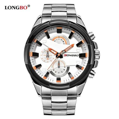 Relógio Masculino De Pulso Longbo Prata/branco Aço Inoxidáve