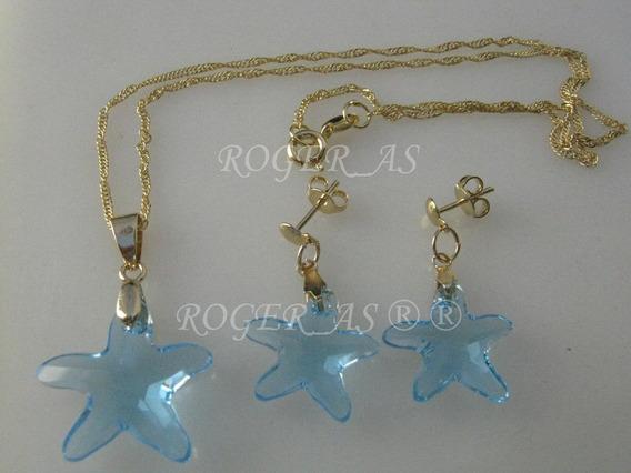 Conjunto Estrela Do Mar Cristal Swarovski Sapphire Folh Ouro