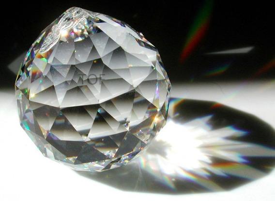 Esfera De Cristal Cortado 4 X 5 Cm Para Cortina O Candil