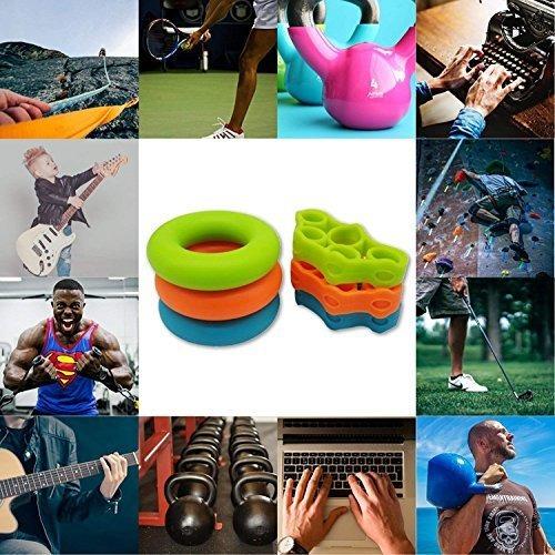 Aparato de Entrenamiento de Manos y Dedos para Fortalecer los Dedos y los Antebrazos de Guitarristas Escaladores Anillas Ejercitador de 6 Pcs Hand Grip Trainer XiYee Juego de Silicona Reforzador