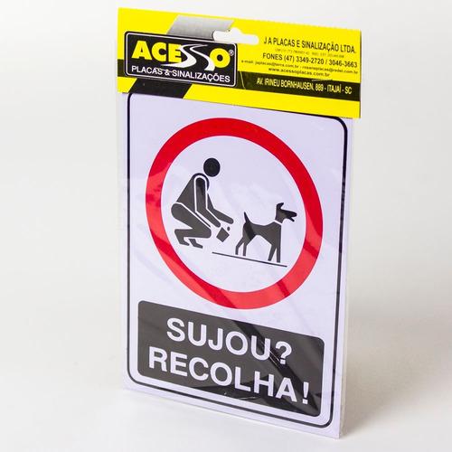 Placa De Aviso Cachorro Sujou Recolha Coco Chao