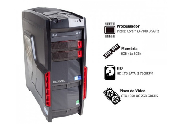 Pc Gamer: Intel Core I3-7100 3.9g Ram 8gb 1tb Gtx1050oc 2gb