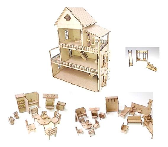 1 Casa Casinha Mdf 60cm +kit Miniatura 35 Peças C Parquinho