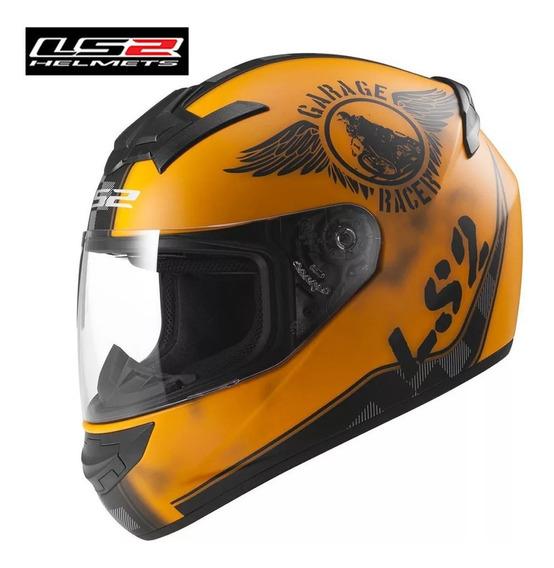 Capacete Ls2 Ff352 Laranja Garage Racer Original Importado