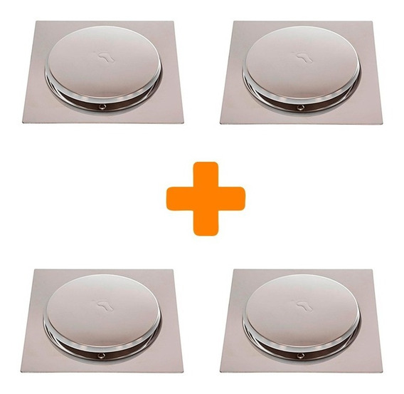 Kit 4 Ralos Click Inteligente Em Inox 10x10 Cm Veda Cheiro