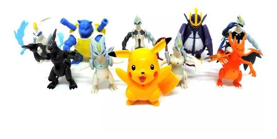 10 Bonecos Pokémon Pikachu Coleção Brinquedos Grande