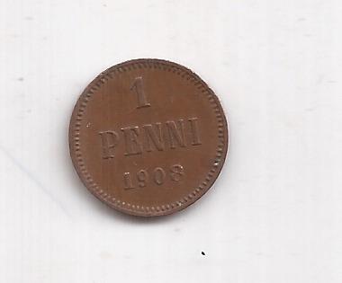 Finlandia Moneda De 1 Penni Año 1908