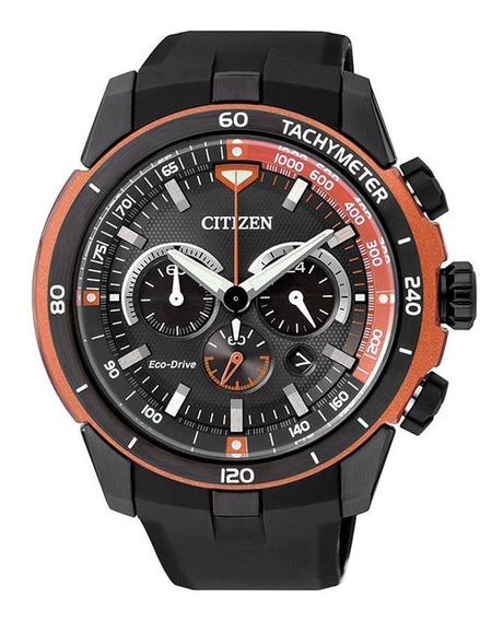 Relógio Citizen Tz30786j Eco-drive Cronógrafo Laranja/preto