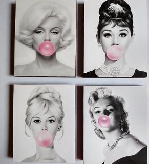 Cuadros Marilyn, Audrey Bridgit Set 4 Piezas Chicle