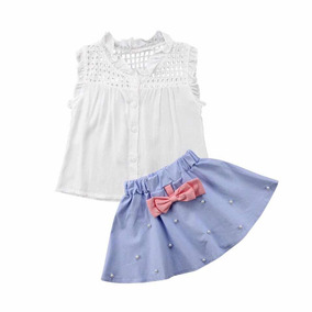 Conjunto Para Niña Falda/blusa Con Detalles De Perlas