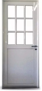 Puerta Aluminio Blanco 1/2 Con Postigo Vidrio Repartido 4mm