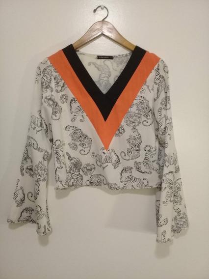 Blusa Estampada Sofía Caputo Japan-negra Y Naranja, Oriental