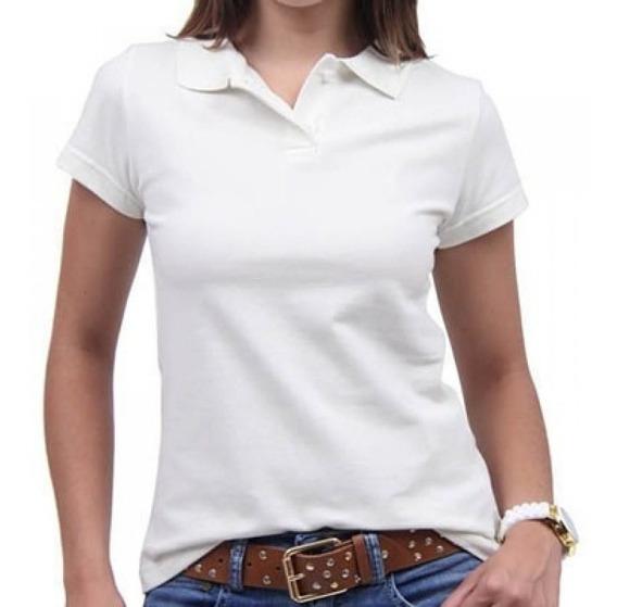 Camisa Gola Polo Feminina Lisa Trabalho Profissional Botão