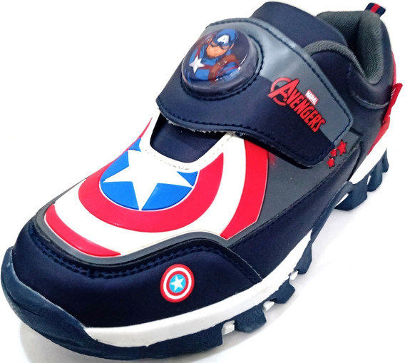 Zapatillas Marvel Abrojo Capitán América Con Luz