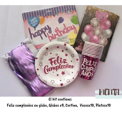 Kit De Decoracion De Cumpleaños Mujer Fucsia Morado