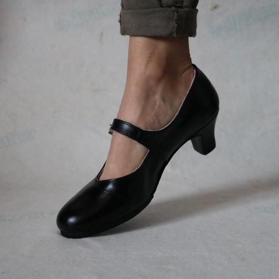 Zapato De Folclore Colores Negro, Blanco, Camel.
