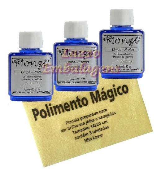 Kit 10 Liquido Limpa Prata Monzi 35ml + 10 Flanela Magica