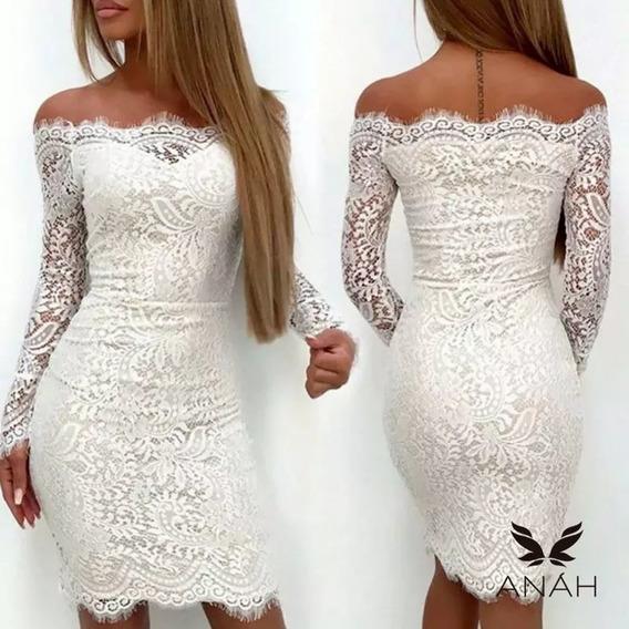 Vestido Blanco De Novia De Encaje Elastizado. Marca Anah.