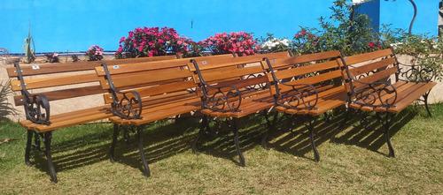 5 Bancos De Praça Frances 7 Réguas 150 Cm Madeira De Lei