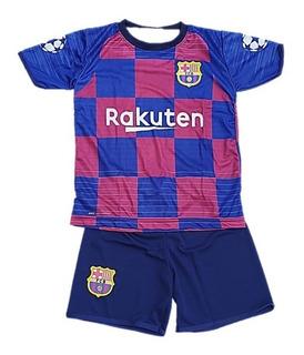 Short E Camisa Infantil Messi Barcelona Conjunto Uniforme