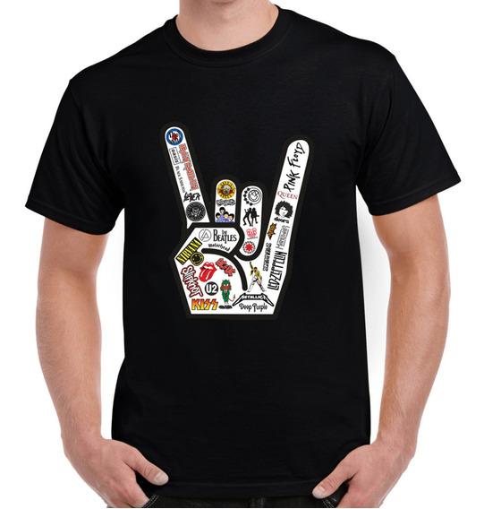 Playera Camiseta Coleccion Mano Rockera Todos Los Grupos