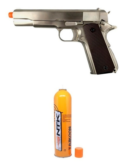 Pistola Airsoft Gbb 1911 Cromada Full Metal 6mm We + Taikoon