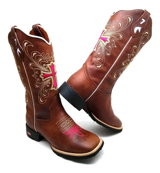Bota Country Texana Hopper Feminina Couro Bovino Cruz Rosa