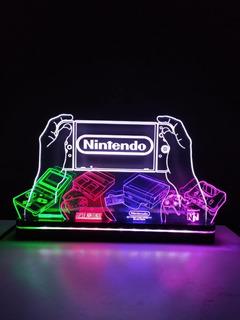 Abajur Luminária Led Nintendo Especial Consoles Logo