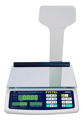 Balanza comercial digital Systel Croma 15kg con mástil 100V/240V blanco