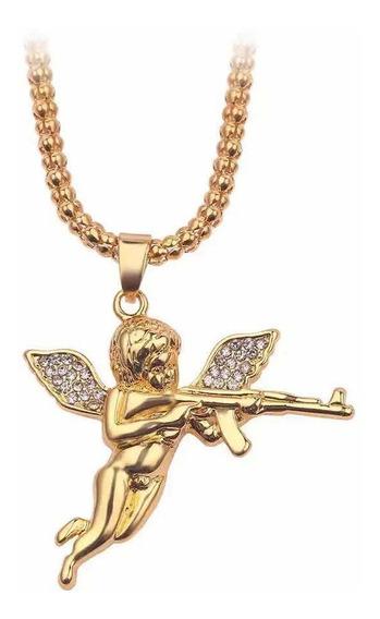Corrente Iced Out Angel Cupid Ak 47 Gold 60cm (envio Rápido)