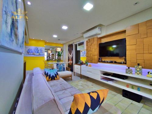Imagem 1 de 30 de Apartamento Na Praia 3 Dormitórios 1 Suíte Varanda Gourmet 2 Vagas Piscina Churrasqueira Pitangueiras Guarujá. - Ap1197