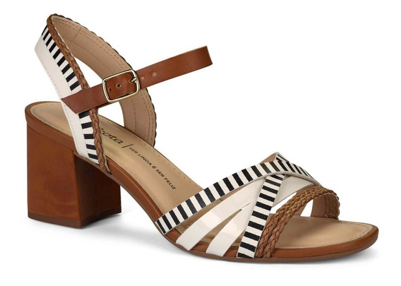 Sandália Dakota Salto Bloco 6cm Castanho / Branco Z5011
