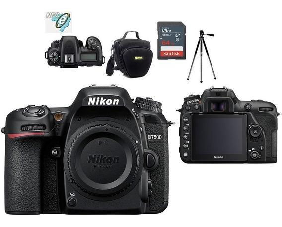 Nikon D7500 Corpo 20.9mp + Bolsa+tripé+64gb Nota Fiscal