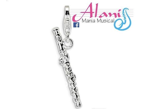 Colar Flauta Transversal Prata Couro - Alanis Mania Musical