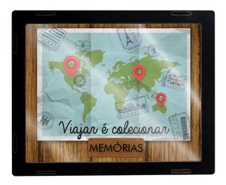 Quadro Porta Dinheiro Cofre Moeda Cédula Mdf Mapa Mundo 2601