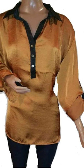 Blusas Seda Estampadas ,mangas Largas Cuello Camisa T 4 A 6