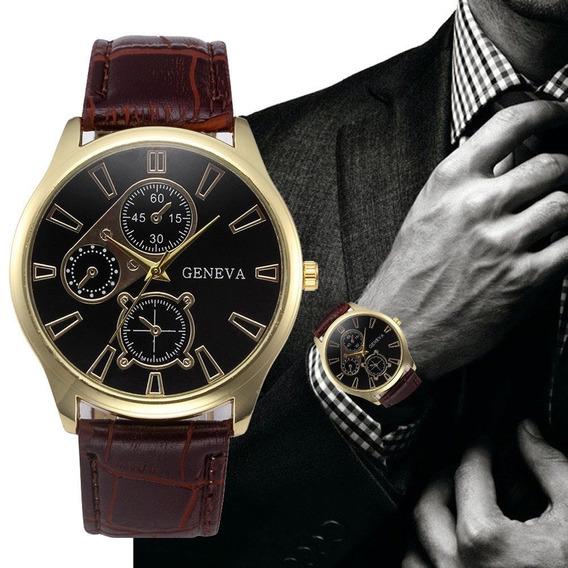 Relógio Geneva Couro Quartz Clássico Oferta Lançamento