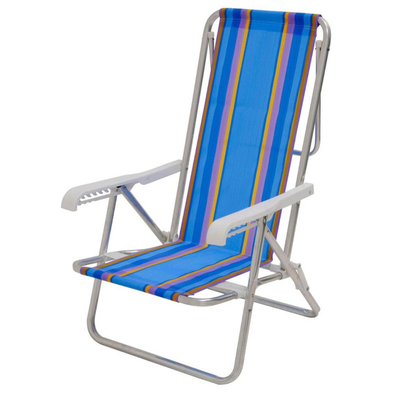 Cadeira De Praia Mor Luxo Alumínio Com 8 Posições Ref.:2104