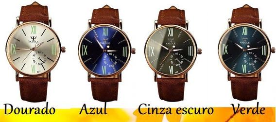Relógio Pulseira De Couro Clássico Yazole Modelo 327