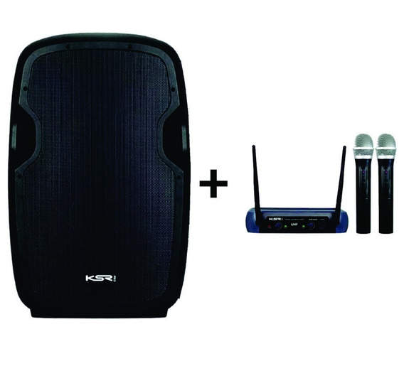 Caixa Ativa K815 Ksr + Microfone Duplo Mao Ksr / Loja