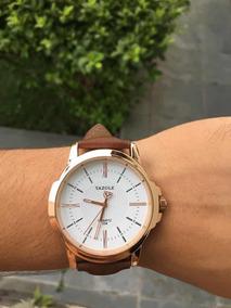 Relógio Yazole Em Couro Marrom Original Elegante Vintage